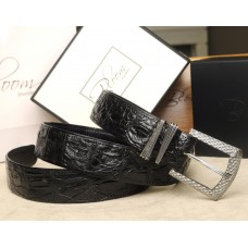 Genuine Crocodile Leather Belt with Solid Sterling Silver Buckle