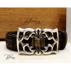 Crocodile Leather Skin Belt with Big Sterling Silver Buckle and Ram's Horn