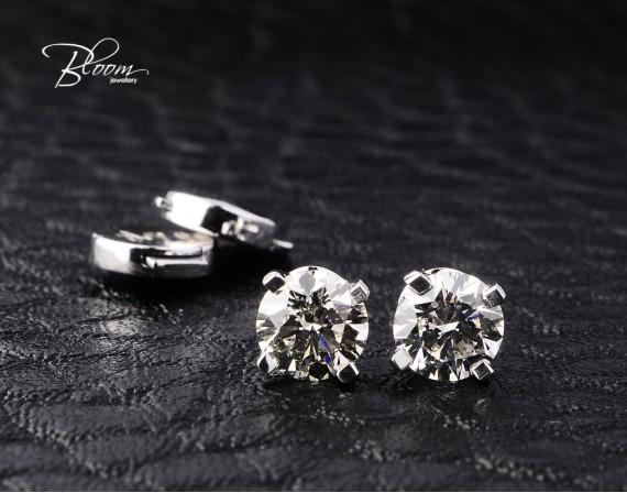 1.44 ct. Diamond Stud Earrings 18K White Gold Bloom Jewellery