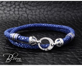 White Gold Stingray Bracelet Natural Diamond Stones and Sapphire