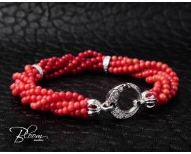 White Gold Red Coral Diamond Bracelet