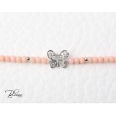 Pink Coral Diamond Butterfly Bracelet