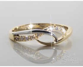 Delicate Diamond Ring White and Yellow Gold 18K