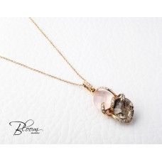 Beautiful Pink and Smoky Quartz Necklace 18K Rose Gold