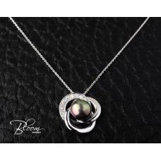 Delicate Black Pearl Diamond Necklace