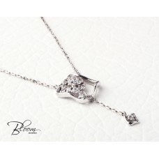 Elegant White Gold Necklace with Cubic Zirconia