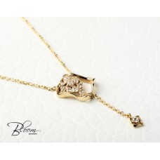 Elegant Yellow Gold Necklace with Cubic Zirconia
