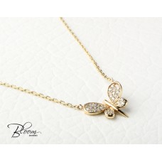 Butterfly Necklace Yellow Gold and Cubic Zirconia