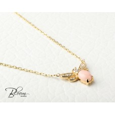 Gold Butterfly Necklace with Cubic Zirconia and Pink Quartz