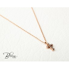 14K Rose Gold and Cubic Zirconia Delicate Cross Necklace Bloom Jewellery