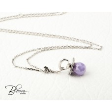 Amethyst and Cubic Zirconia White Gold Necklace