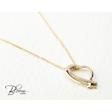 Heart Yellow Gold Necklace with Cubic Zirconia