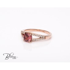 Rose Gold Diamond Ring with Tourmaline
