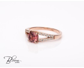 Rose Gold Diamond Ring with Tourmaline