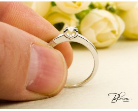 Delicate Engagement Ring with Heart Shape Setting and Diamond Stone Bloom Jewellery