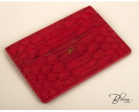Genuine Python Leather Card Holder with 14K Gold Bloom Logo