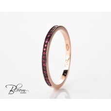 Delicate Ruby Ring Half Eternity Ring in 18K Rose Gold