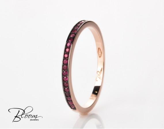 Delicate Ruby Ring Half Eternity Ring in 18K Rose Gold