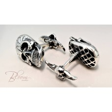 Solid Sterling Silver Cufflinks Skull with 14K Yellow Gold Accents