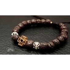 Lava Stone Beads 14K Gold Bracelet