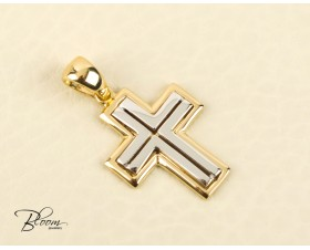 Personalized Men's 14K White and Yellow Gold Cross Bloom Jewellery