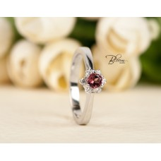 White Gold Engagement Ring Pink Tourmaline Real Diamonds and 18K White Gold