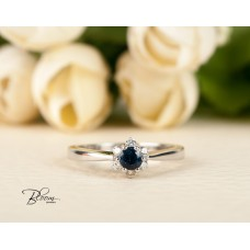 White Gold Engagement Ring Blue Sapphire Real Diamonds and 18K White Gold