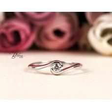 Bazel Engagement Ring Real Diamond 18K White Gold