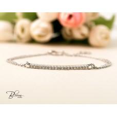 Diamond Bar Bracelet 18K Solid White Gold Bloom Jewellery