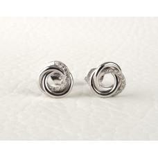 Diamond Knot Earrings 18K White Gold Diamond Suds Bloom Jewellery