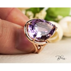 Giant Amethyst Ring in 18K Rose Gold Bloom Jewellery