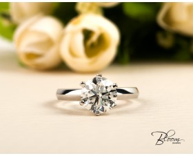 Two Carat Diamond Ring GIA Certified Engagement Ring 18K White Gold by Bloom Jewellery