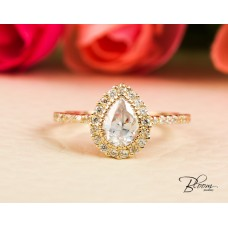 Halo Pear Engagement Ring 14K Solid Yellow Gold Cz Stones Bloom Jewellery