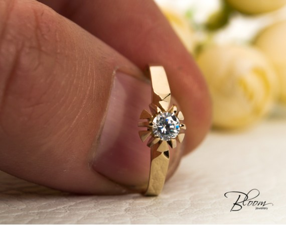 14K Gold Engagement Ring with Cubic Zirconia Stone Bloom Jewellery