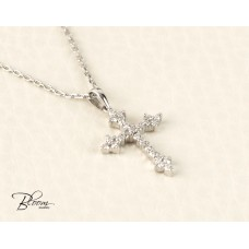 18K Diamond Cross Necklace for Woman Genuine Diamond Necklace Adjustable Length BloomDiamonds