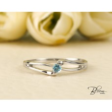 Blue Topaz Engagement Ring 18K White Gold Promise Ring Minimalist Ring Bloom Jewellery