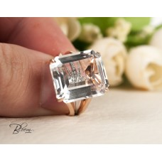 White Quartz Ring 18K White and Roze Gold Real Diamond Bloom Jewellery