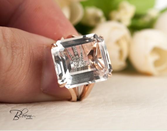 White Quartz Ring 18K White and Roze Gold Real Diamond Bloom Jewellery