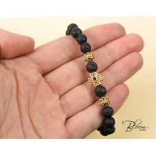 Prayer Bracelet 14K Solid Gold Cross and Natural Lava Beads BloomDiamonds