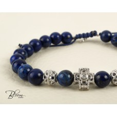 Lapis Lazuli Beaded Prayer Bracelet 14K Solid White Gold Cross Charm with Natural Diamond Stones Bloom Jewellery