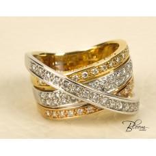 Crossed Bands Heavy Diamond Ring 18K White and Yellow Gold Guy Laroche