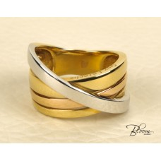 Crossed Bands Heavy Ring 18K White and Yellow Gold Guy Laroche