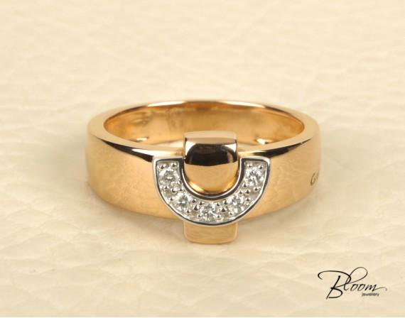 18K Rose and White Gold Diamond Ring Guy Laroche