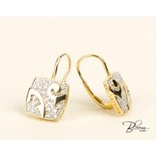 18K Yellow Gold Diamond Dangle Earrings Guy Laroche