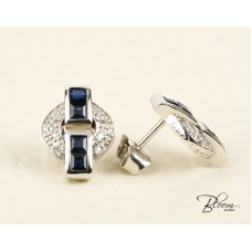 Royal Blue Sapphire Earrings 18K White Gold and Diamond Stones Guy Laroche