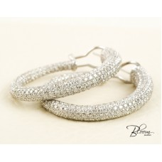 12 Carat Diamond Hoop Earrings 18K White Gold Natural Diamond Stones Bloom Jewellery