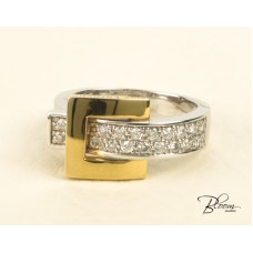 Buckle Shape Ring 18K White and Yellow Gold Diamond Ring Guy Laroche