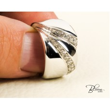 Heavy White Gold Diamond Band Ring 18K Gold