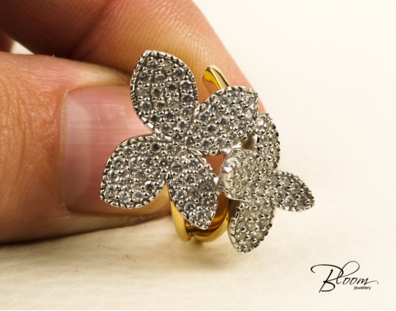 18K Diamond Ring Butterfly Ring White and Yellow Gold Louis FERAUD