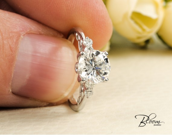 1.50 ct. Diamond Engagement Ring 18K White Gold by Bloom Jewellery